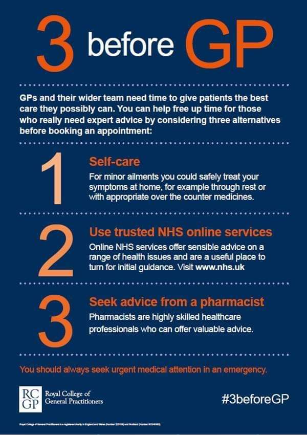 3 before GP - three alternatives to consider before booking a GP appointment