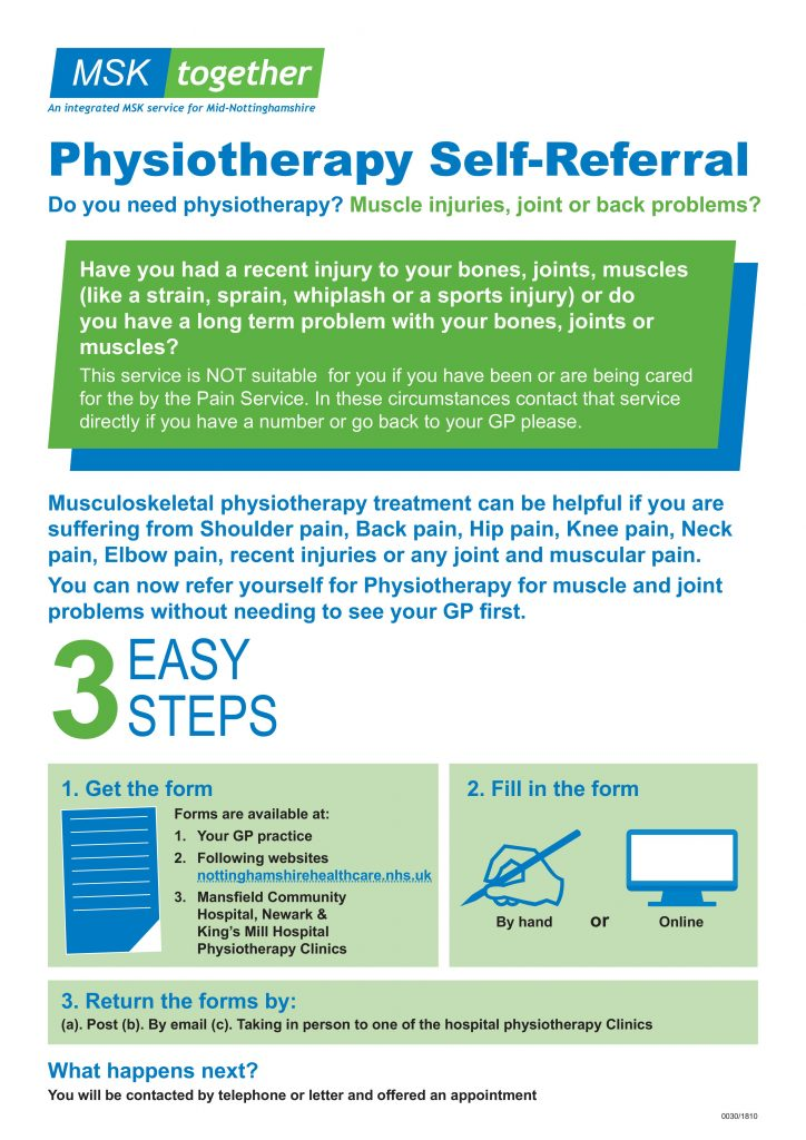 Physiotherapy self referral